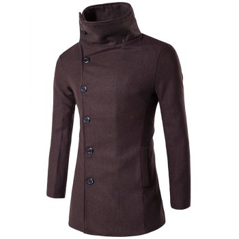 Turndown Collar Side Single Breasted Wool Coat