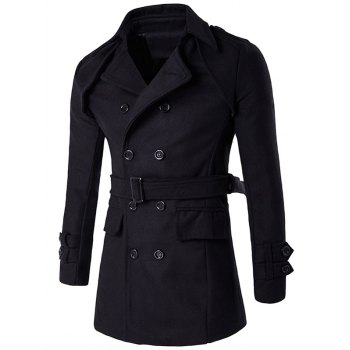 Buy Double Breasted Epaulet Belt Design Turndown Collar Wool Coat BLACK