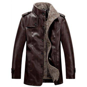 Flocking Stand Collar Single Breasted PU-Leather Jacket