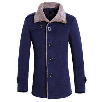 Flocking Turndown Collar Single Breasted Suede Coat