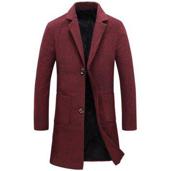 Lengthen Turndown Collar Single Breasted Wool Coat