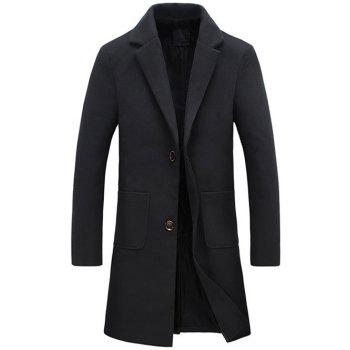 Longline Turndown Collar Single Breasted Wool Coat
