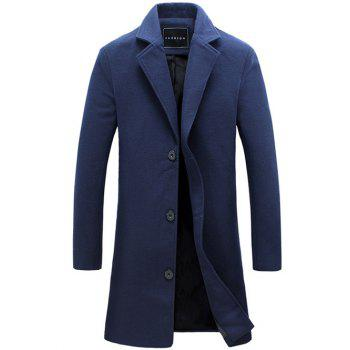 Longline Turndown Collar Single Breasted Woolen Coat