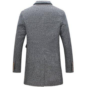 Cotton Blends Turndown Collar Single Breasted Woolen Coat - GRAY L