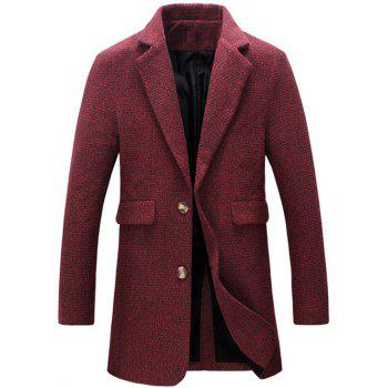 Cotton Blends Turndown Collar Single Breasted Woolen Coat - RED RED