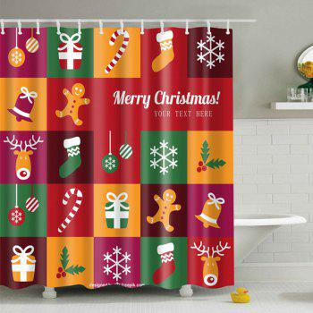 Christmas Plaid Printed Bathroom Waterproof Shower Curtain