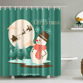 Christmas Snowman Printed Bathroom Waterproof Shower Curtain