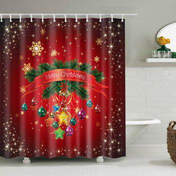 Merry Christmas Printed Bath Waterproof Shower Curtain