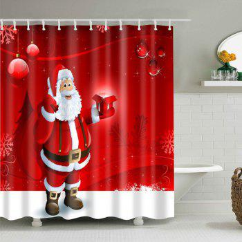 Santa Claus Waterproof Christmas Decor Bath Shower Curtain - RED RED
