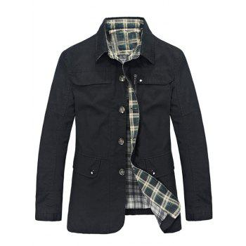 Pocket Plaid Lining Button Up Jacket