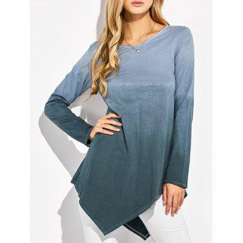 V Neck Ombre Asymmetrical T-Shirt