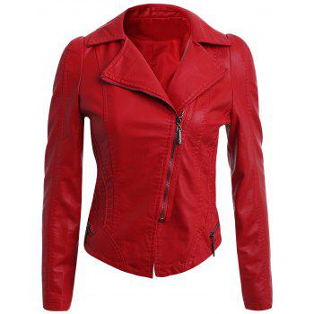 Oblique Zipper Faux Leather Biker Jacket