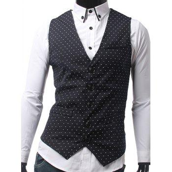 Single Breasted Polka Dot Slim Fit Waistcoat