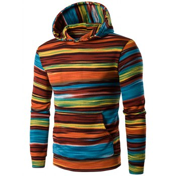 Colorful Stripe Print Hooded Long Sleeve Hoodie