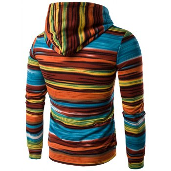 Color Block Stripe Hooded Pullover Hoodies - L L