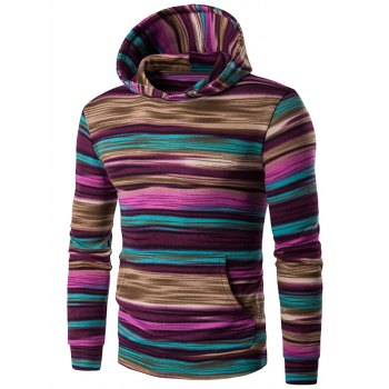 Color Block Stripe Hooded Pullover Hoodies - RED M