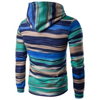 Color Block Stripe Hooded Pullover Hoodies - BLUE BLUE