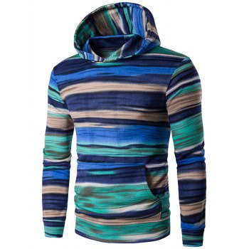Colorful Stripe Print Hooded Long Sleeve Hoodie - BLUE M