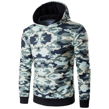 Camouflage Print Hooded Long Sleeve Hoodie - ARMY GREEN ARMY GREEN