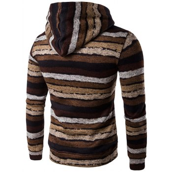 Stripe Print Hooded Long Sleeve Hoodie - COFFEE M