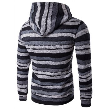 Stripe Print Hooded Long Sleeve Hoodie - GRAY XL
