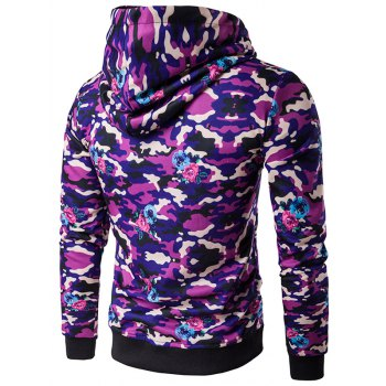 Camouflage Pattern Hooded Long Sleeve Hoodie - XL XL