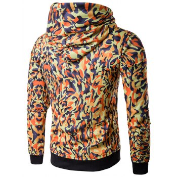 Camouflage Pattern Hooded Long Sleeve Hoodie - ORANGE ORANGE