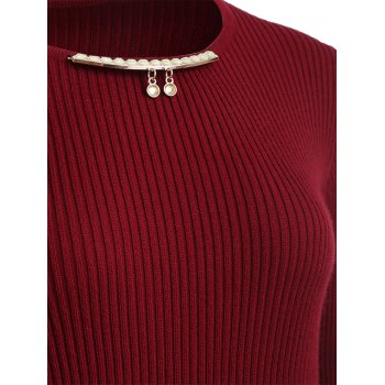 Chain Checked Layered Sweater Skater Dress - ONE SIZE ONE SIZE