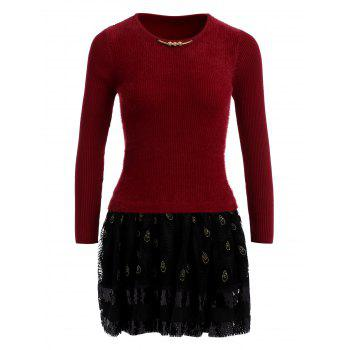 Feather Printed Tulle Spliced Fuzzy Sweater Dress - WINE RED WINE RED