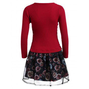 Organza Spliced Floral Layered Sweater Skater Dress - RED RED
