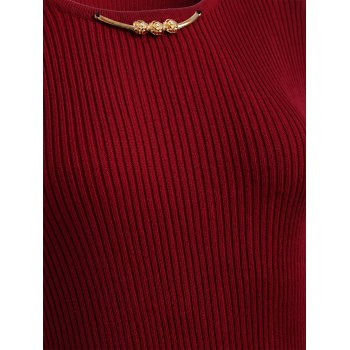 Lace Trim Pleated Knitted Dress - DEEP RED DEEP RED