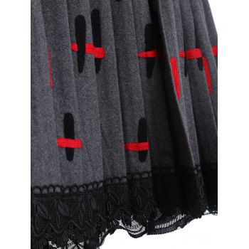 Lace Trim Pleated Knitted Dress - ONE SIZE ONE SIZE