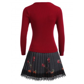 Floral Pleated Knitted Dress - RED RED
