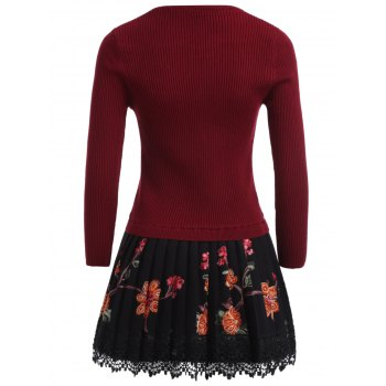 Floral Pleated Knitted Dress - WINE RED WINE RED