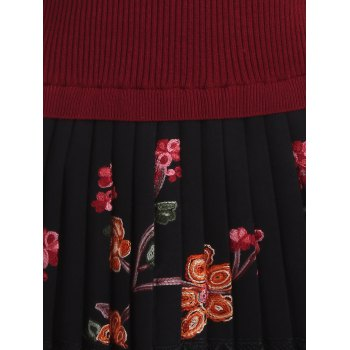 Floral Pleated Knitted Dress - ONE SIZE ONE SIZE