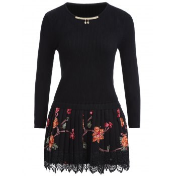 Floral Pleated Knitted Dress