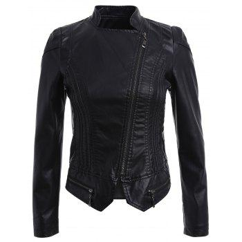 Asymmetric Zipper Cropped Faux Leather Jacket