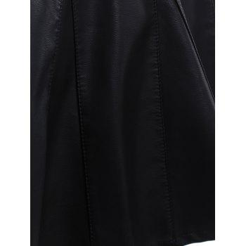 High Waisted Faux Leather Skater Skirt - M M