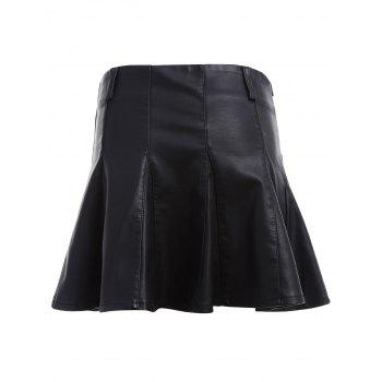 High Waist Faux Leather Skater Skirt - BLACK BLACK