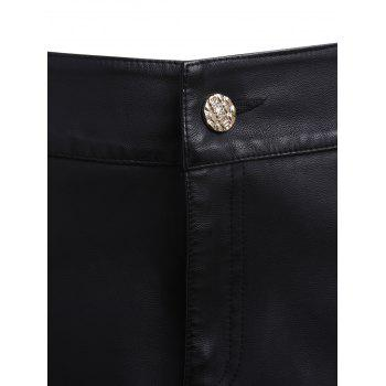 Faux Leather Skirted Shorts - BLACK BLACK