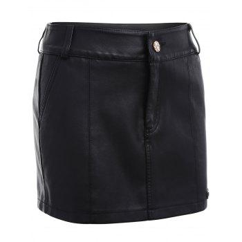 Faux Leather Skirted Shorts - S S