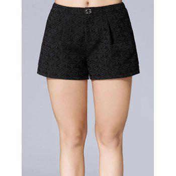 Triangle Jacquard Button Plus Size Shorts - BLACK 2XL