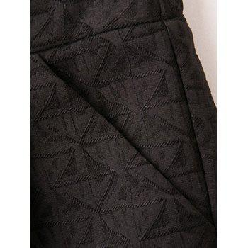 Triangle Jacquard Button Plus Size Shorts - BLACK BLACK