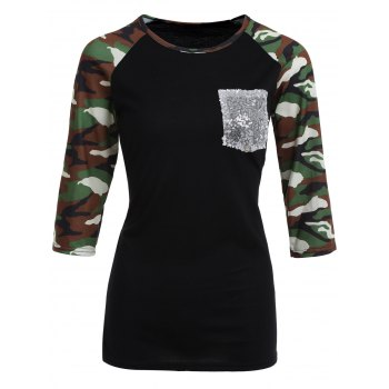 Camo Print Pocket Raglan Sleeve T-Shirt