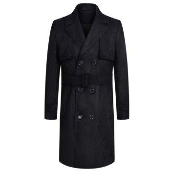 Belt Design Double Breasted Lengthen Suede Coat