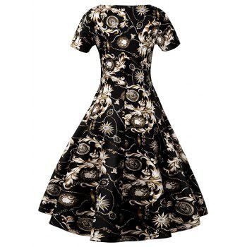 Slim Fit Ornate Print Swing Dress - BLACK 2XL