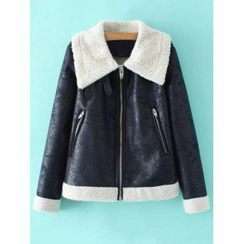 PU Leather Faux Shearling Coat