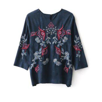 Embroidered Faux Suede Fitting Blouse - S S