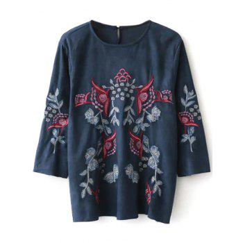 Embroidered Faux Suede Fitting Blouse