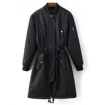Skirted Drawstring Utility Coat - BLACK S